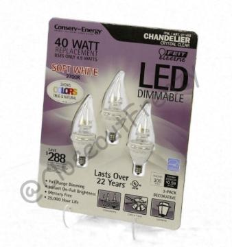 Picture of Feit 911482 LED 4.9 Watt LED Candelabra Light Bulbs 3-Pack CF-1-931